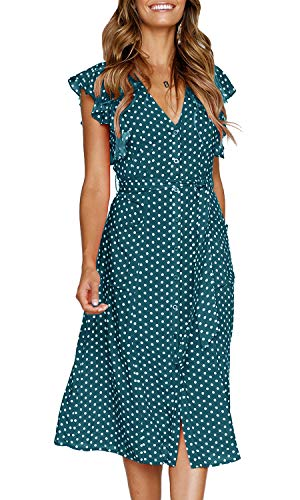 MITILLY Women's Summer Boho Polka Dot Sleeveless V Neck Swing Midi Dress with Pockets Large Teal