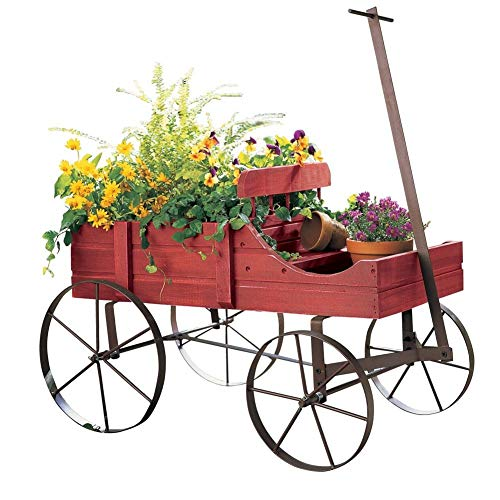- Unbranded* Garden Planter Wood Green Amish Wheeled Yard Decor Indoor Outdoor Flowers Wagon (Country RED)