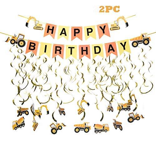 Construction Zone Birthday Party Boys Birthday Construction Theme Birthday Tractor Banner Excavators Bulldozers Dump Trucks Cement Trucks Decorations
