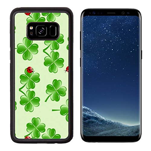 MSD Premium Samsung Galaxy S8 Aluminum Backplate Bumper Snap Case IMAGE ID: 11960181 vector illustration of seamless pattern with four leaves clover and ladybugs