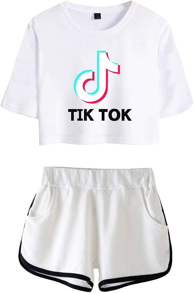 TIK TOK Imprimiendo Camisetas Crop Top y Pantalones Cortos, Ropa Corta, Traje de Dos Piezas para Niñas y Mujeres Ropa Chándales Deportiva: Amazon.es: Ropa y accesorios