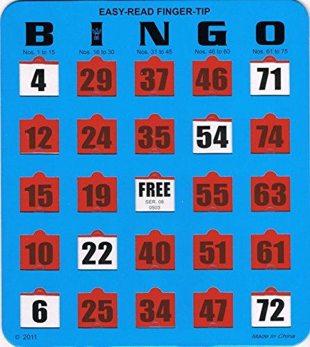 Regal Games 100 Jumbo Easy Read Blue Fingertip Shutter Slide Bingo Cards by Regal Games (Image #1)