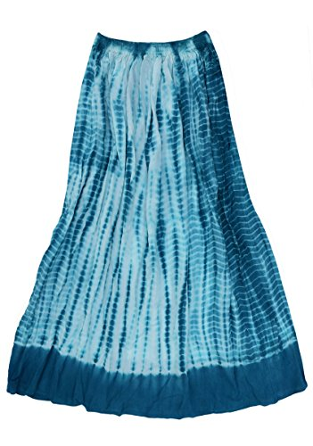 - Ayurvastram Viscose Rayon Crinkled Tie n Dye Long Skirt: Teal, M