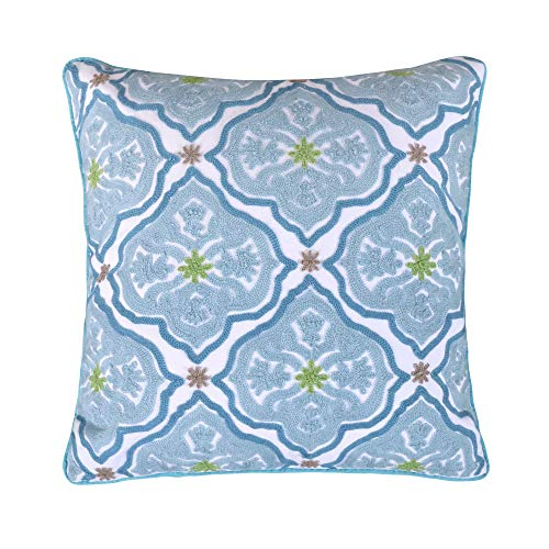 Levtex Home Cressida Teal Crewel Pillow, Medalion, Invisible Zipper, Front: 100% Cotton; Back: 50%/50% Cotton/Polyester, Teal