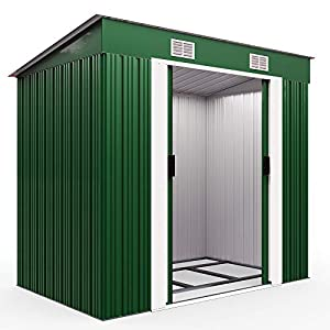 Deuba-Garden-Metal-Tool-Shed-Size-and-Colour-Choice-Galvanised-Green-Anthracite-Brown-Roofed-Outdoor-Storage-Green