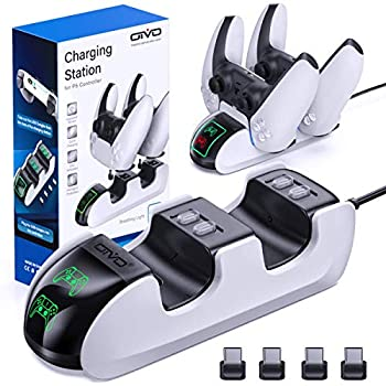 OIVO PS5 Controller Charger,Charging Dock Station for Ps 5 PS5 Controller, PS5 Controller Charging Dock Station with 4 USB-C Adapter, with Upgraded ON/Off Change, LED Strap and Indicators