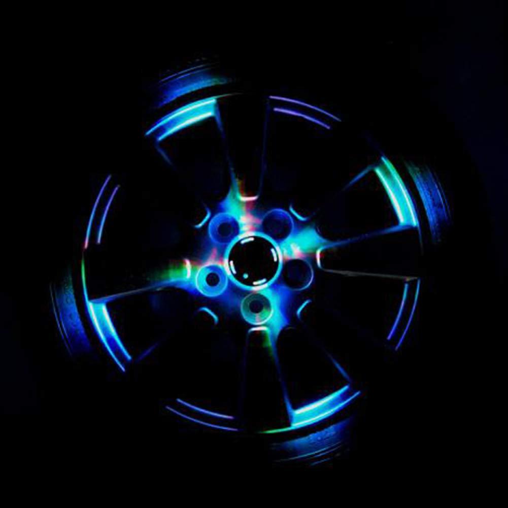 Comtervi Auto 7 Colores Solar Energ/ía Flash Auto Rueda Rueda V/álvula Tapa Luces LED Radbeleuchtung Luz Llanta Luz Tunin Auto Llantas Iluminaci/ón