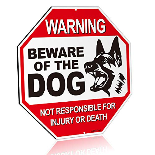 Anley Beware of The Dog Aluminum Warning Sign, No Responsible for Injury Or Death Warning Dog Sign - UV Protected and Weatherproof - 12