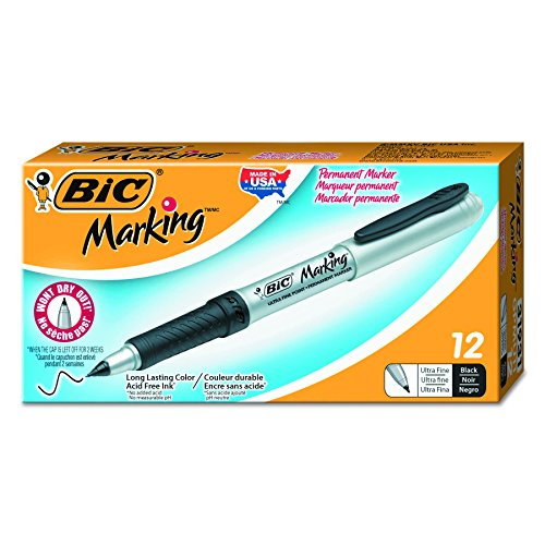 BIC Marking Permanent Marker, Ultra-Fine Point, Black, 12-Count