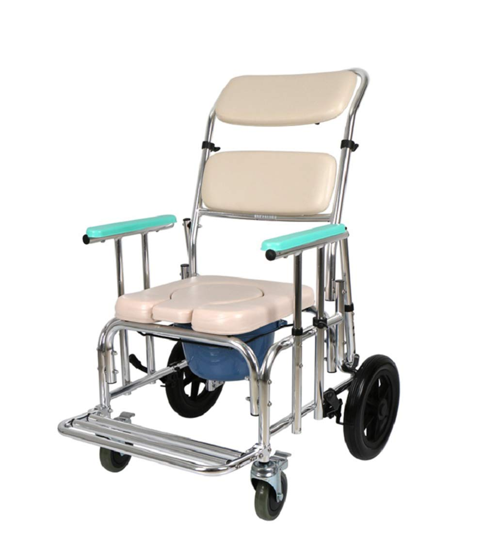 W&P Shower Bedside Commode Chair PU Seat with Wheels by, Medical Commode Toilet Rolling Shower Chair with Casters (4 Wheels Brakes), Commode Padded Adjustable Backrest and Drop Arm