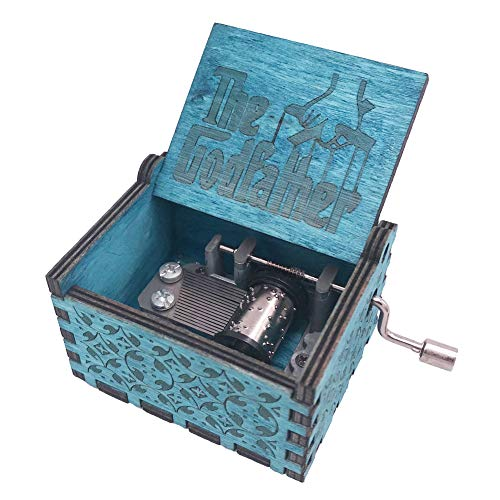 (The Godfather Music Box Hand Crank Musical Box Carved Wooden,Play The Theme Song of The Godfather,Blue)