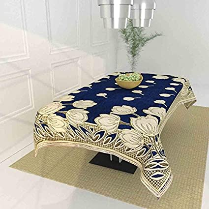 TIB The Intellect Bazaar Floral 450 TC Chenille 4 Seater Table Cover (Blue)