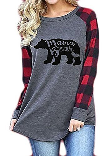 Mellons Womens Casual Plaid Long Sleeve Letter Print Mama Bear Print Shirt Tops Blouse T-Shirts