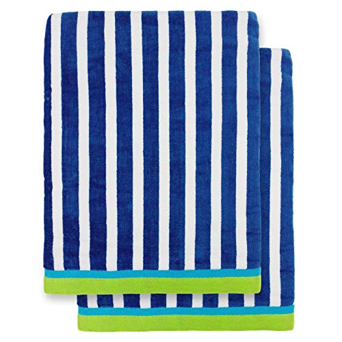 Ben Kaufman - Oversized 40 X 70 Stripe Color Velour Super Soft Beach and Pool Towel Set of 2 Pieces Easy Care, Extra Large (Cobalt)