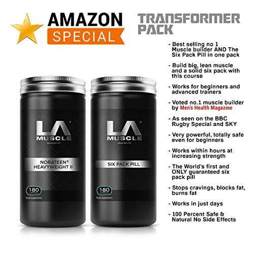 LA Muscle Transformer Pack Special Amazon Promotion, Get Muscle Builder Norateen Heavyweight II Voted no.1 by Men's Health and the Six Pack Pill Pharma Grade fat loss and Abs super-supplement For Sale