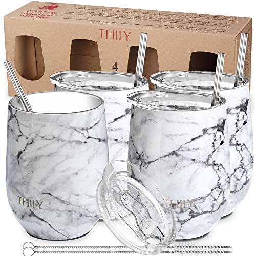 Stainless Steel Stemless Wine Tumbler - THILY 12 oz Triple-Insulated Unbreakable Glasses Set with Slide Lid and Straw, Cute Travel Cups, Keep Hot or Cold for Wine, Coffee, Beer, 4 Pack, White Marble ()
