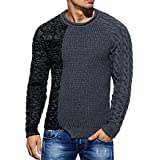 kaifongfu Pullover Top,Patchwork Sweater Blouse Shirt Round Neck Mens Blouse (Dark Gray,2XL)