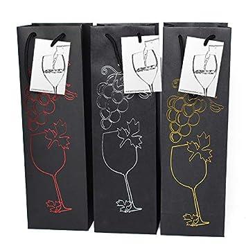 6 bolsas de regalo de vino negro con etiqueta de regalo y ...