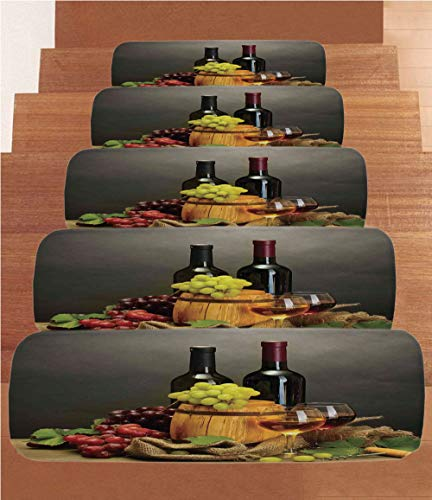 - SoSung Winery Decor Coral Fleece Stair Treads,Stair Tread Mats,Barrel Bottles and Glasses of Wine and Ripe Grapes on Wooden Table Decorative Picture,(Set of 5) 8.6