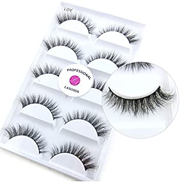 cc5f6d42557 Amazon.com : 3D Mink False Eyelashes LASGOOS Degisn Luxurious Natural Messy  Winged Daily Fake Eye Lashes Makeup 5 Pairs/Box (A01) : Beauty