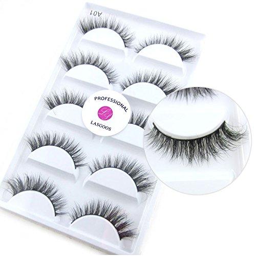 100% Siberian Mink 3D False Eyelash LASGOOS Degisn Luxurious Natural Messy Short Winged Daily Fake Eye Lashes Makeup 5 Pairs/Box (A01)
