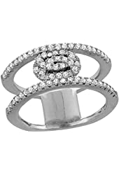 Sterling Silver Cubic Zirconia Interlaced Circles Ring Micro Pave 3/8 inch Long, sizes 6 - 9