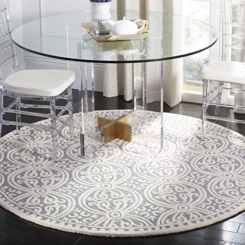 Safavieh Cambridge Collection CAM123D Handcrafted Moroccan Geometric Silver and Ivory Premium Wool Round Area Rug (10' Diameter)