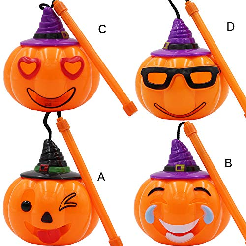 Transer- Pumpkin Lantern, Halloween LED Light Props Horror Hand Ghosts Voice-Activated Sensor Lamp Battery Operated Home Decoration Ornamentation Gift Kids (Assorted - 4 Pcs) ()