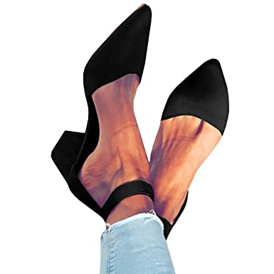 229d473f18f Amazon.com  Pxmoda Womens Pointed Toe Pumps Chunky Block Heel Suede Sandal  with Ankle Strap  Clothing