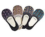 MiGoo Women No Show Cotton Floral Patterned Non Slip Socks 4 Pack