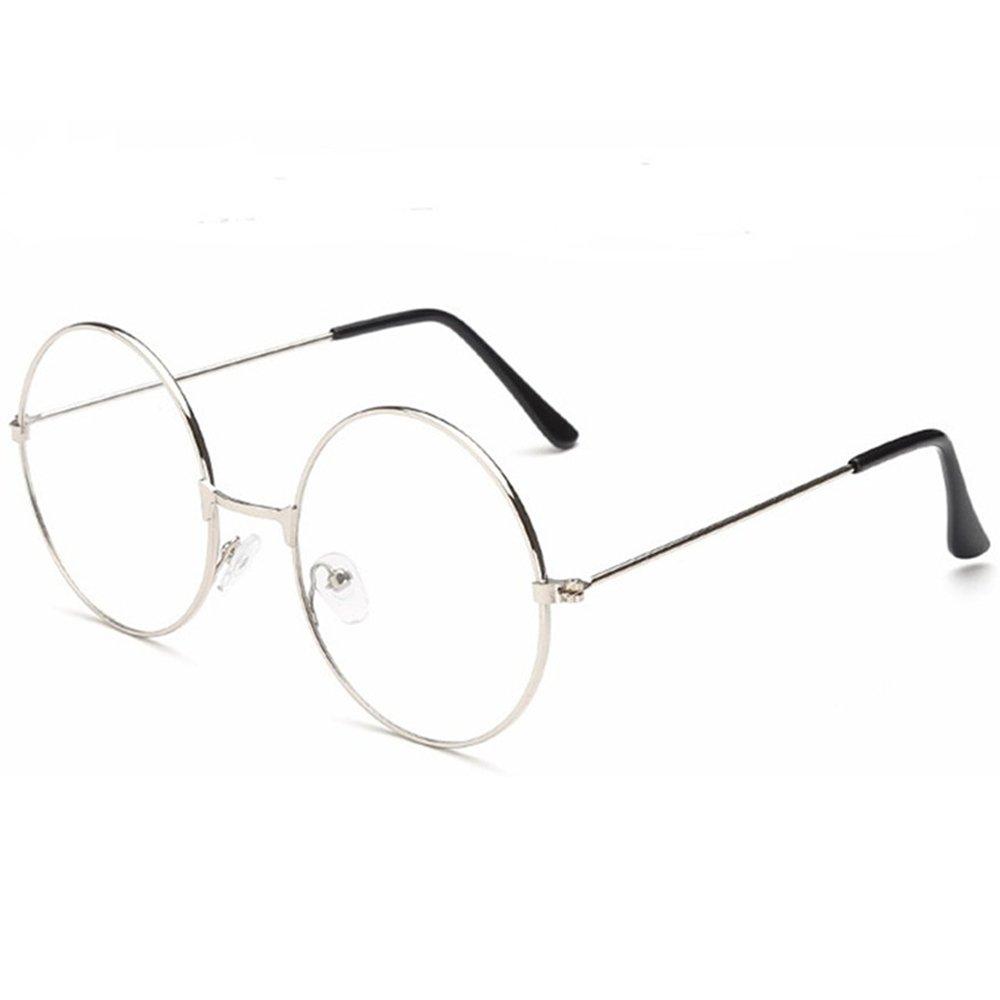 TRIXES Unisex Silver Retro Sixties Style Round Metal Glasses ZE93