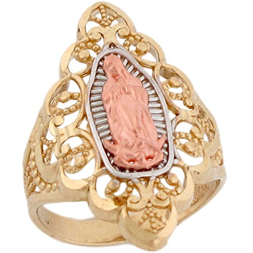 10k 3 Color Gold Virgin Mary Guadalupe Beautiful Design Religious Ring