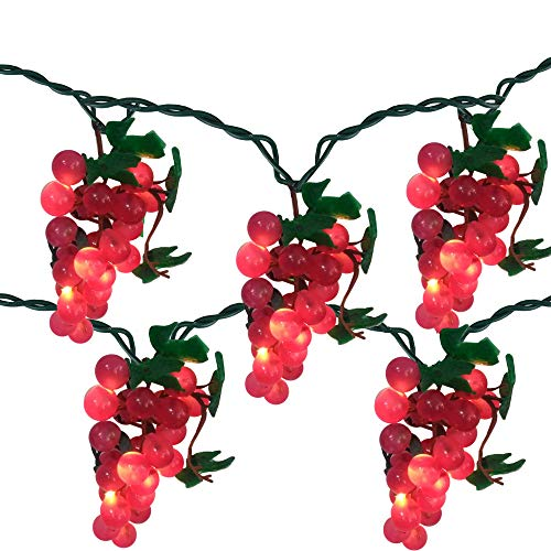 - 5 Purple Grape Cluster String Lights - 6ft. Green Wire