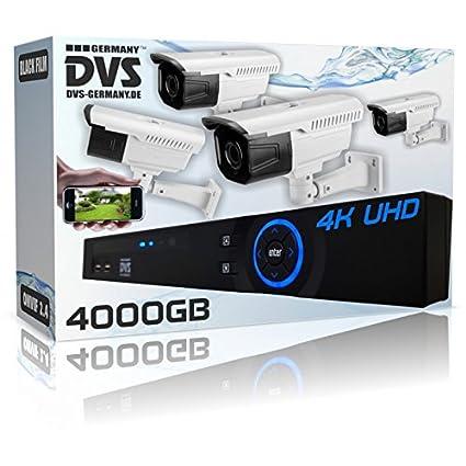 Dvs Alemania – 4 K Paquete completo – 4 x UltraHD cámaras de vigilancia Plus 4000
