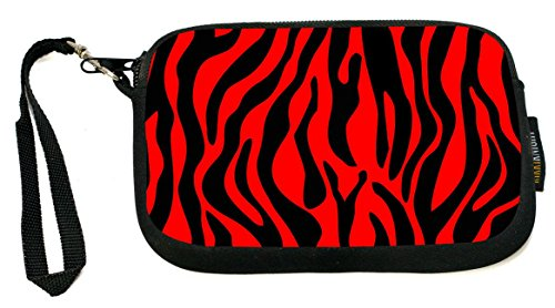 Rikki Knight Zebra Design on Red - Neoprene Clutch Wristlet Coin Purse with Safety Closure - Ideal case for Cosmetics Case, Camera Case, Cell Phones, Passport, etc.. -