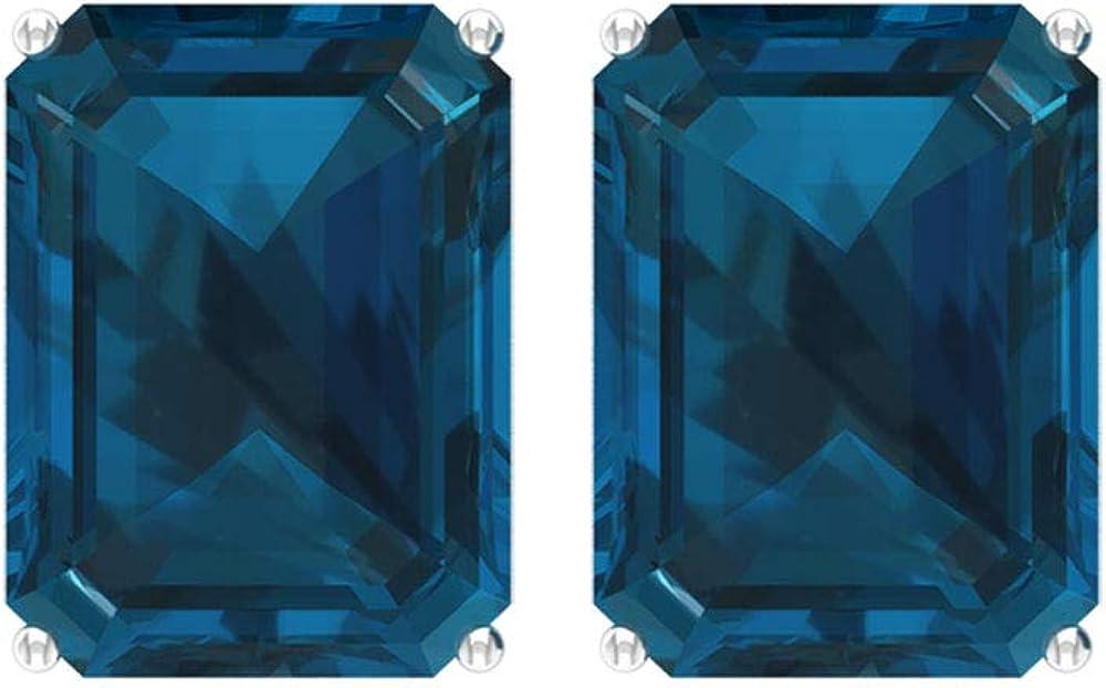 Pendientes de 8 quilates con topacio azul de Londres, con forma de octágono, pendientes de piedra natal, solitario, pendientes de boda, pendientes de todos los días para niñas, tornillo hacia atrás