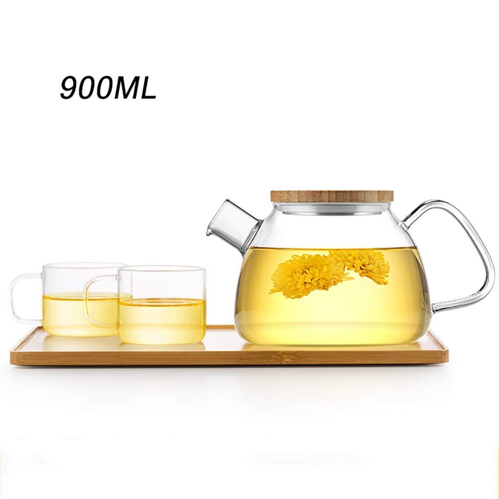 ティー用品 ティーセットガラスティーセット高温耐熱ガラスのティーポットジュースの水差しコールドケトル大容量900ml / 1600ml 3点セット (色 : D) B07PLHL2YB D
