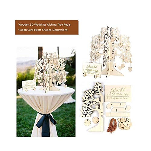 Wedding Guest Book Tree, Wooden Hearts Pendant Drop Ornaments Party Decoration,Suit for Wedding Guest Book Tree/Bridal Shower Guest Book/Baby Shower Guest Book (Khaki) -