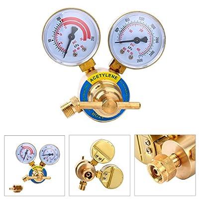 Yaetek Acetylene Regulator CGA 200 Welding Gas Welder Brass Acetylene Regulator Pressure Gauge Victor