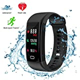 Fitness Tracker,Bluetooth4.0 Waterproof Smart Watch with Heart Rate Monitor Color Screen Tracker Watch IP68 Wristband Activity Tracker Pedometer Sleep Monitor Calorie Counter (Black)