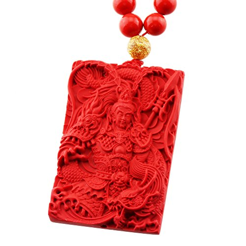 FOY-MALL Natural Cinnabar Chinese God of War Pendant Necklace XL1352M]()