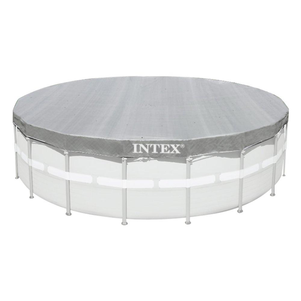 Intex 28040 Pool-Abdeckung für Runde Deluxe Grau, Ø 488 cm, Überhang ...
