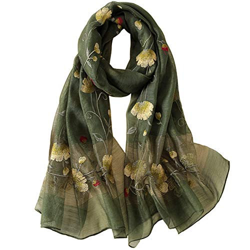 (Alysee Women Warm Exquisite Silk&Wool Mixed Embroidered Scarf Headwrap Shawl Olive Green)