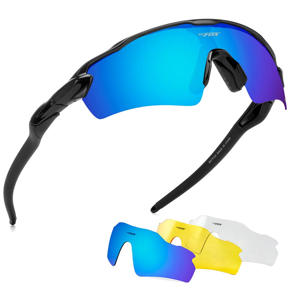 BATFOX Polarized Sports Sunglasses Glasses TAC Running Cycling Baseball Fishing Golf Softball Outdoor for Men Women Youth Interchangeable Lenses Tr90 Unbreakable Frame 100% UV Protection(Black&Blue) by BATFOX