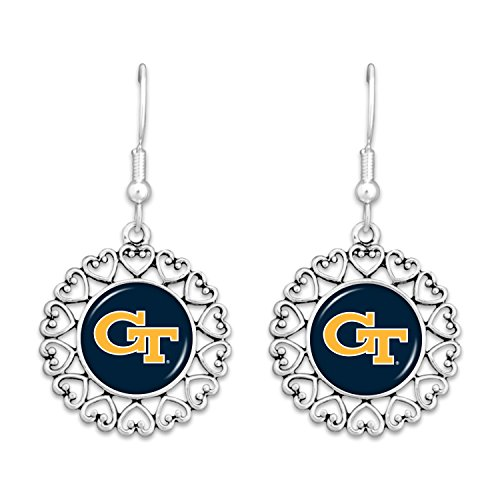 Georgia Tech Yellow Jackets Logo Circle Earrings with Hearts Earrings Georgia Tech Yellow Jackets
