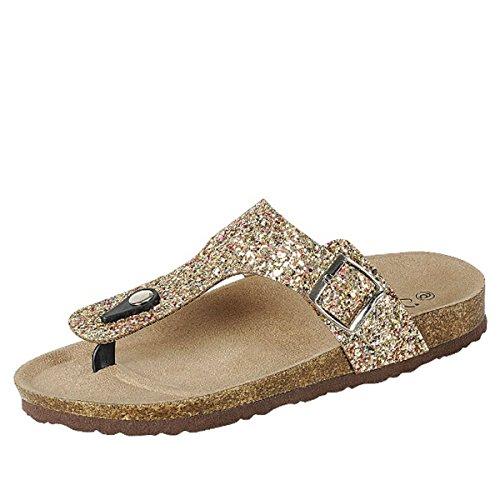 (Forever Women's Sparkle Glitter Slip On Casual Sandals, Gold, 6 )