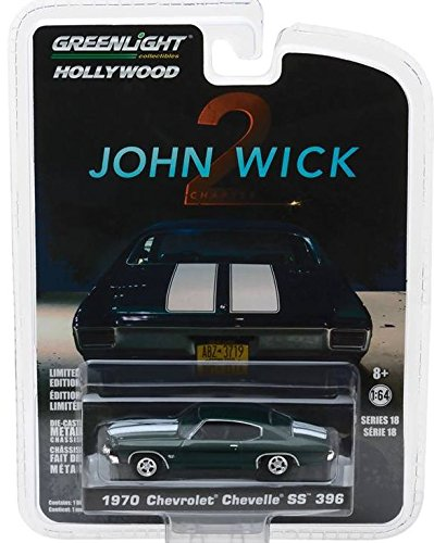 1970 Chevrolet Chevelle SS 396 John Wick Movie Chapter 2 (2017) Hollywood Series 18 1/64 Diecast Model Car by Greenlight 44780 (Chevelle Diecast Model)