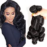 Loose Wave 4 Bundles Peruvian Virgin Hair 100% Unprocessed Weave Human Hair Bundles 400g By Yuzhu Hair (12″ 14″ 16″ 18″, Natural Black)