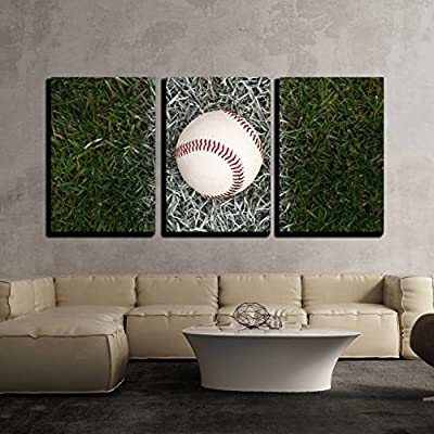 3 Piece Canvas Wall Art - A Close up of a Baseball Sitting on The Foul line. - Modern Home Art Stretched and Framed Ready to Hang - 16
