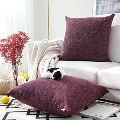 Kevin Textile Best Faux Linen Throw Cushion Covers Shams Textural Pillowcase with Hidden Zipper, 26